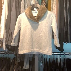 CrewCuts fur trimmed sweater size 10